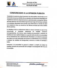Tres mandatarios locales en Norte de Santander han arrojado ser casos positivos en la prueba del coronavirus